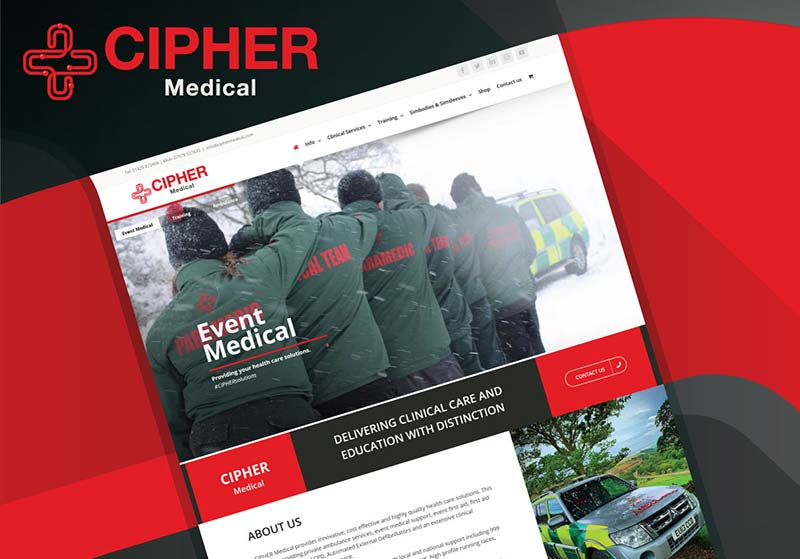 CIPHER Medical web design and graphic design mockup