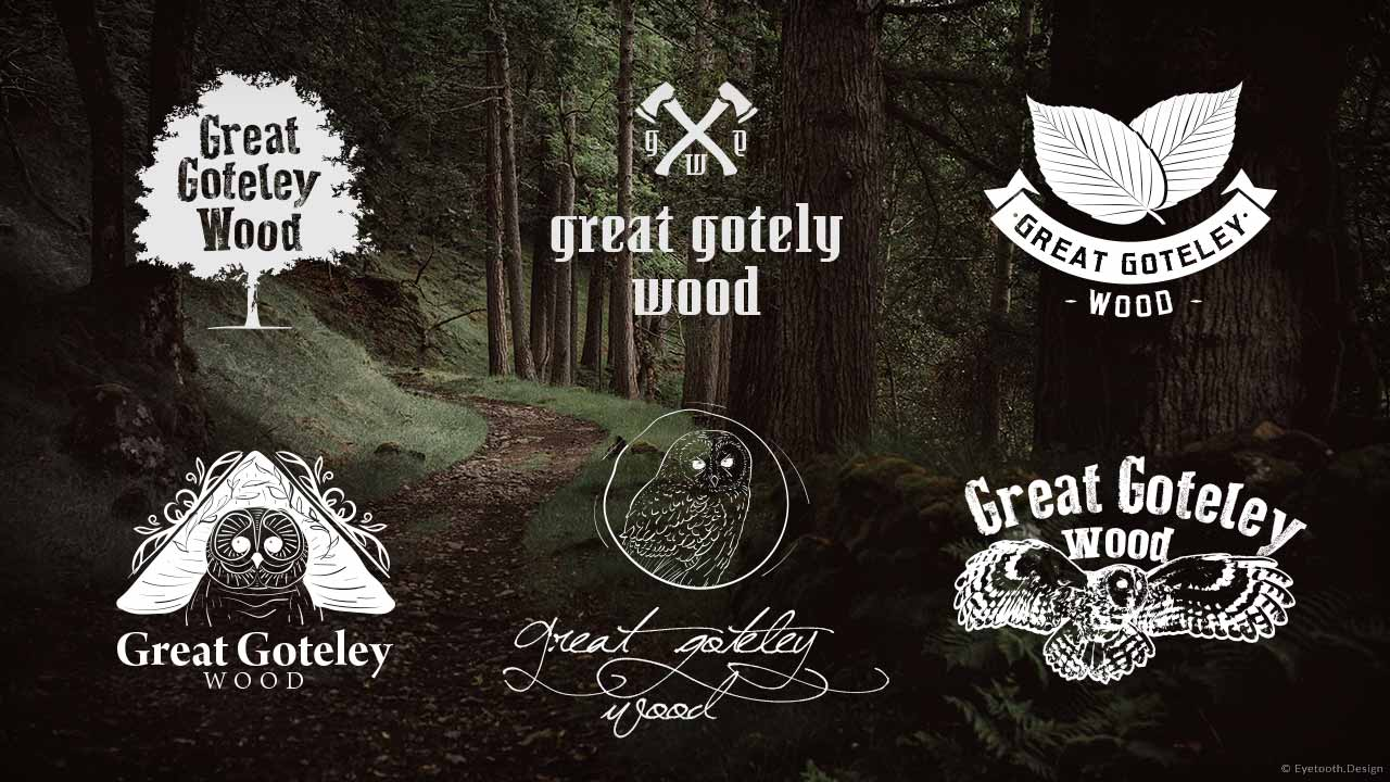 Wood's logo design mockups