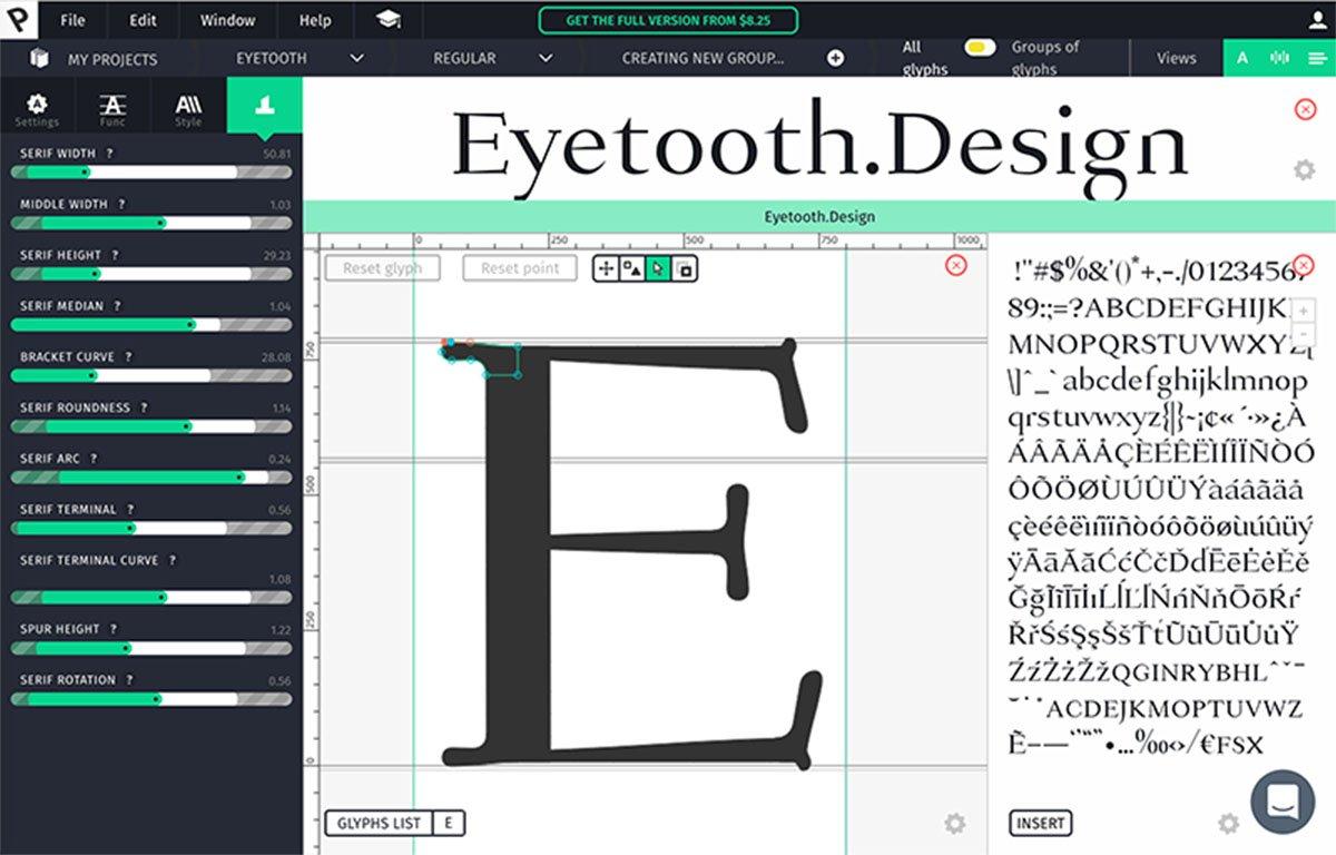 Prototypo user interface