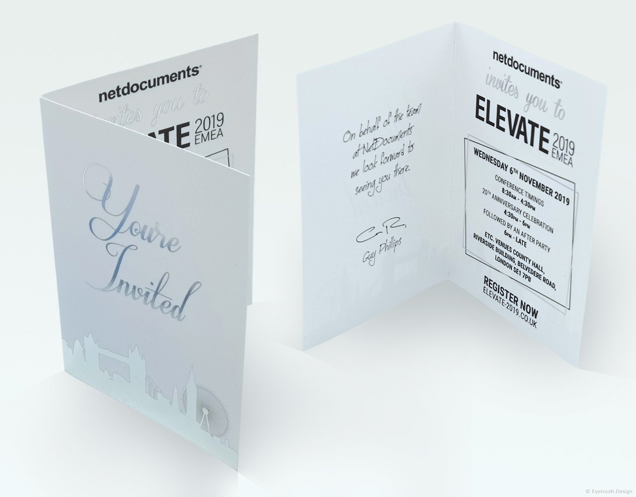 Silver foil invite card design