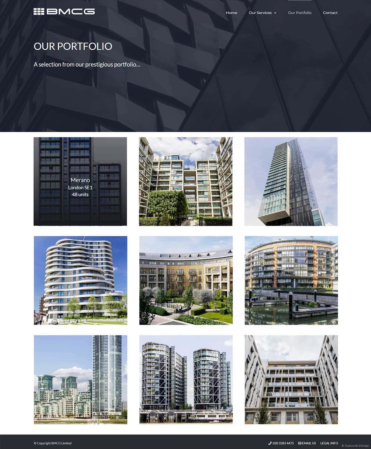 Property portfolio webpage design