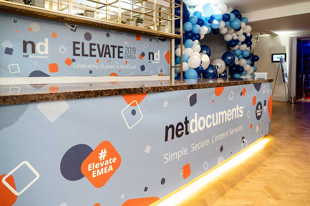 Large wall banners designed for Net Documents Elevate 2019 EMEA