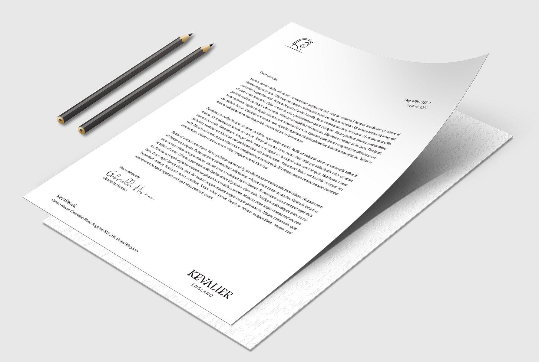 Kevalier letterhead design