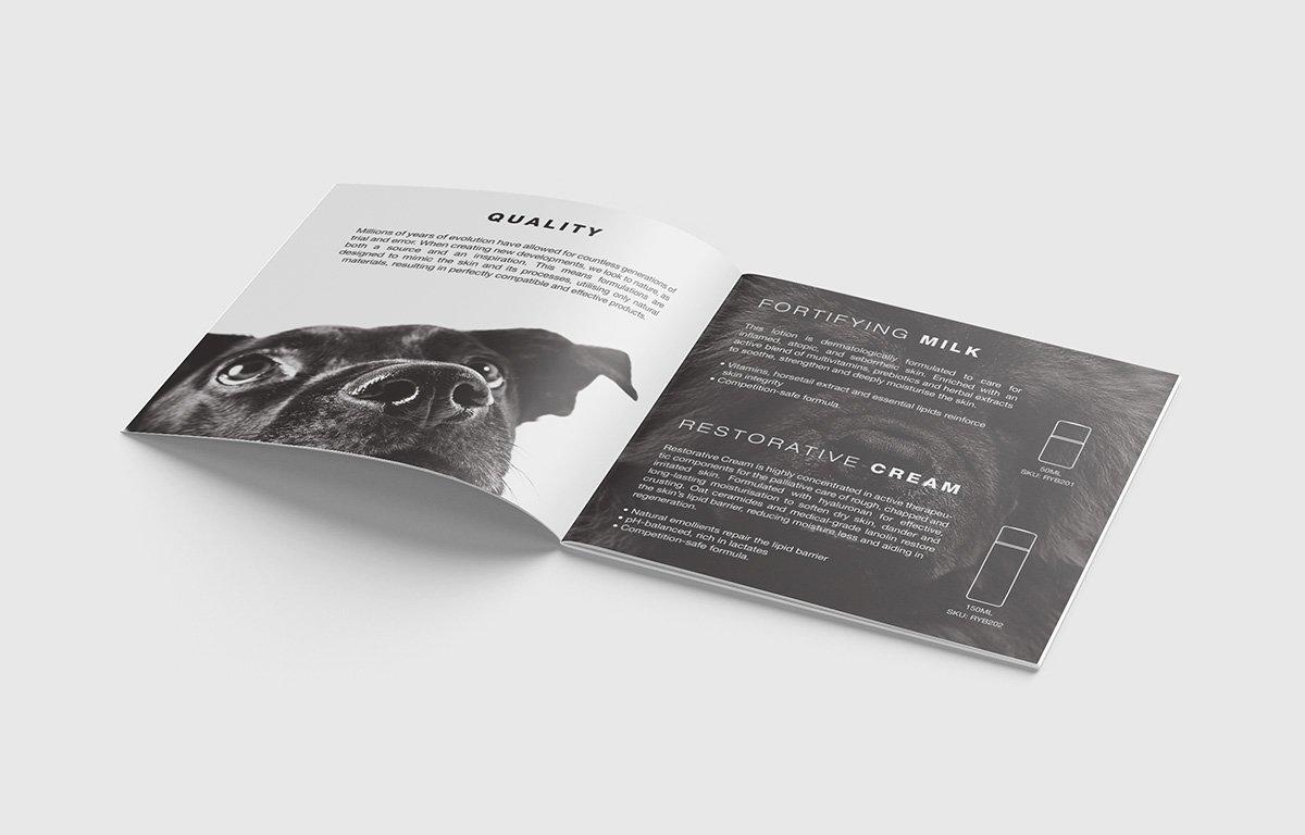 Kevalier booklet inside page spread design