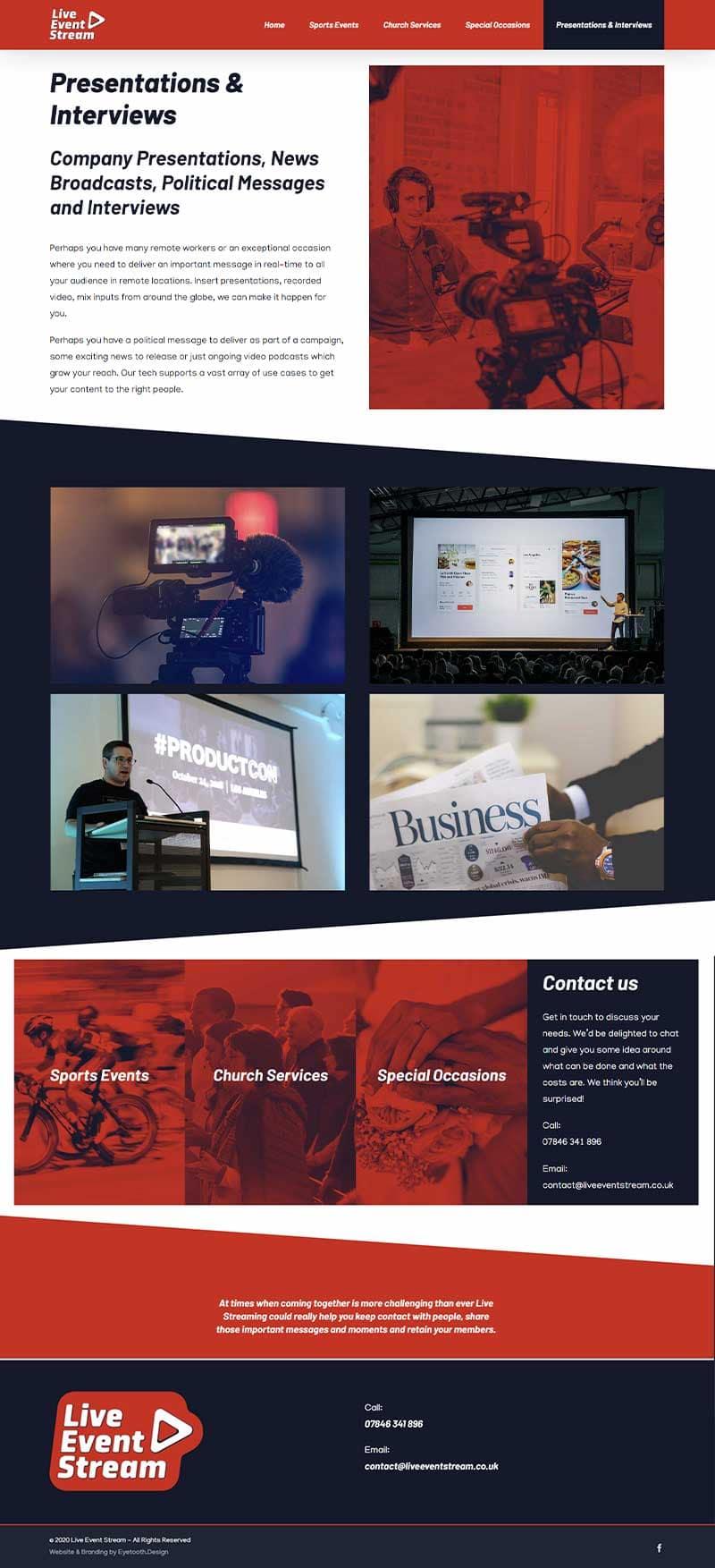 Presentation LiveStream Service Webpage Design