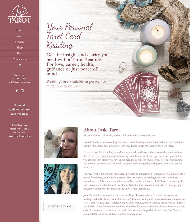 Tarot logo and web design