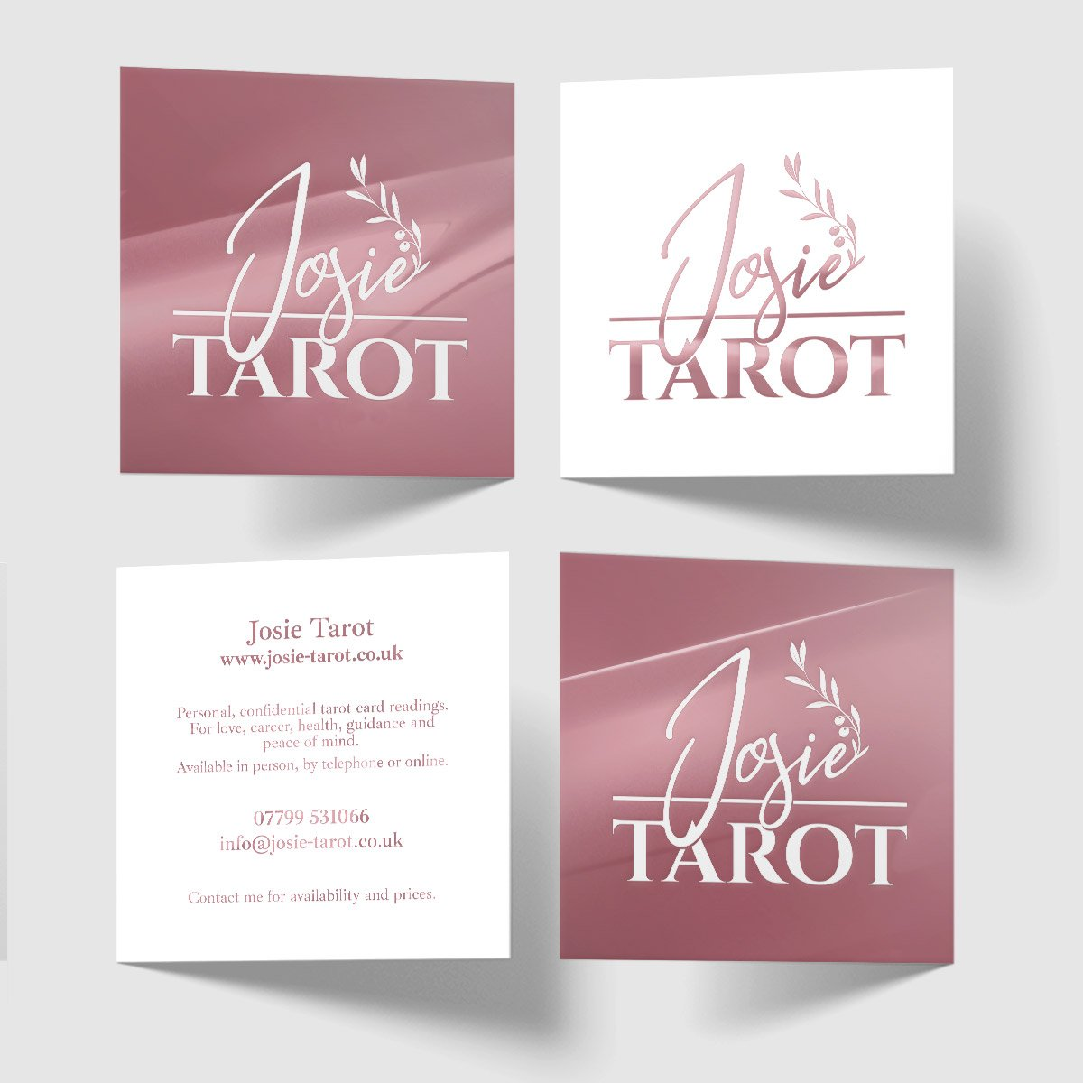 JOsie Tarot Spot Varnish Business Card Design