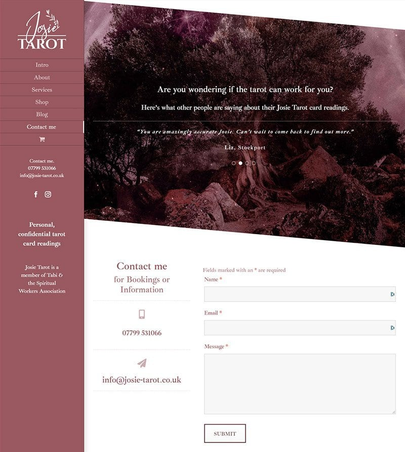 Website contact & order form design for Tarot readings