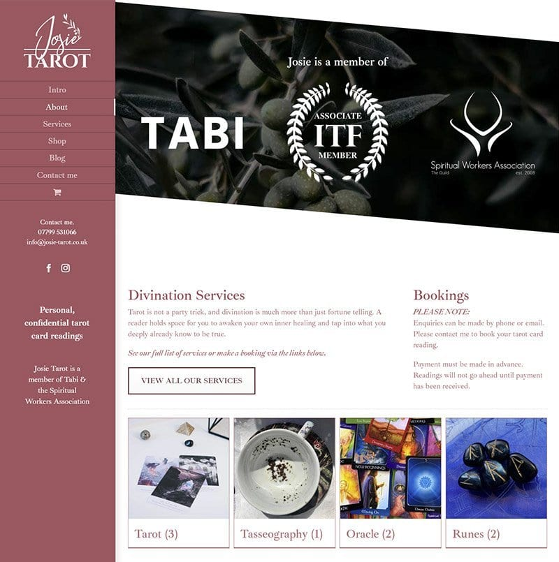 Josie Tarot services webpage design