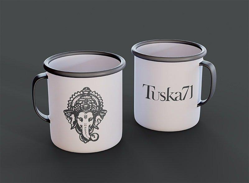 Branded tin cup merchandise design
