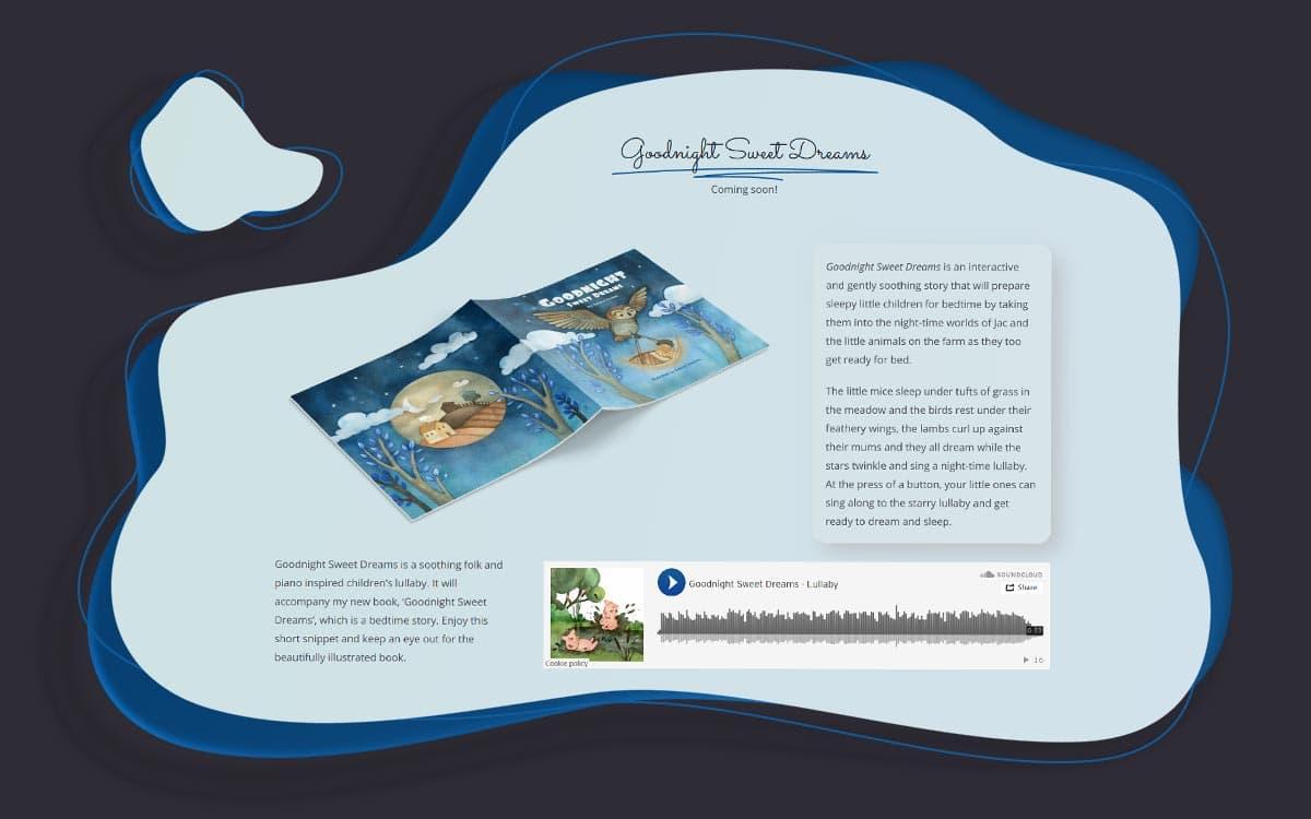 Responsive websie designed for a childrens book author