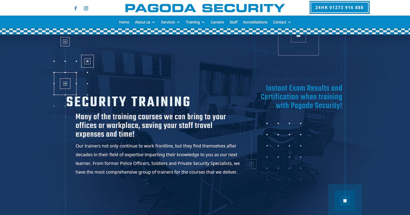 Security Training e-commerce website design