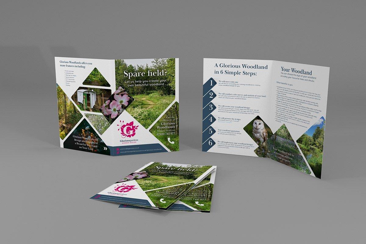 Folded leaflet design for Garden Design Company